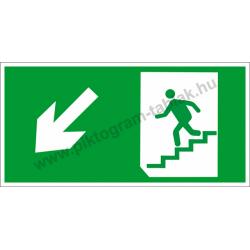 Utánvilágító menekülési út balra le a lépcsőn piktogram tábla