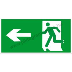 Utánvilágító menekülési út balra piktogram tábla