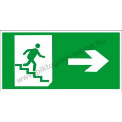 Utánvilágító menekülési út jobbra a lépcsőn piktogram tábla