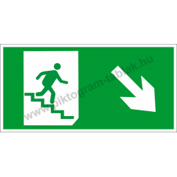 Utánvilágító menekülési út jobbra le a lépcsőn piktogram tábla