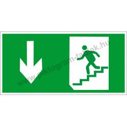 Utánvilágító menekülési út le a lépcsőn piktogram tábla
