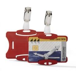Névkitűző Durable 85x54 mm biztonsági kártyához piros