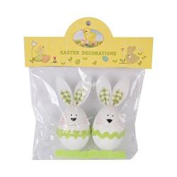 Húsvéti nyuszifigurás tojásdekoráció fehér/zöld 11 cm 2 db/cs