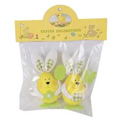 Húsvéti nyuszifigurás tojásdekoráció sárga/zöld 11 cm 2 db/cs