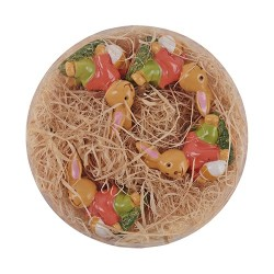 Húsvéti dekor nyuszi plexitartóban 3,5 cm 4 db/kosár ( polirezin )