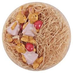 Húsvéti dekor nyuszilány plexitartóban 4,5 cm 3 db/kosár ( polirezin )