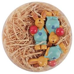 Húsvéti dekor nyuszifiú plexitartóban 4,5 cm 3 db/kosár ( polirezin )