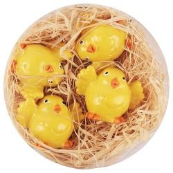 Húsvéti dekor csibe plexitartóban sárga 3 cm 4 db/kosár ( polirezin )