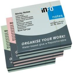 Öntapadós jegyzettömb Info Notes 75x75 mm 100 lapos vegyes pasztellszínek