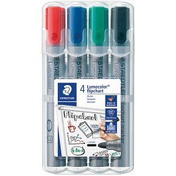 Táblamarker Staedtler Lumocolor flipchart kerek 4 db-os klt. (piros, kék, zöld, fekete)