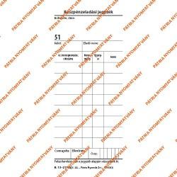 Készpénzeladási jegyzék 50x2 lapos tömb 70x140 mm