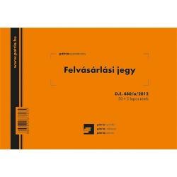 Felvásárlási jegy (mezőgazdasági termékfelvásárlás/szolgáltatás igénybevétel bizonylata) 50x3 lapos tömb A/5