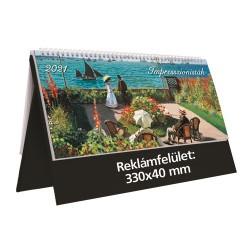 Naptár asztali Kalendart T054 képes álló műbőr táblás 32.5x15.5 cm Impresszionisták fekete