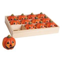 Halloween kerámia tök 5 cm narancssárga 12 db/fadoboz