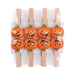Halloween tök facsipesz 4,5 cm 8 db/csomag