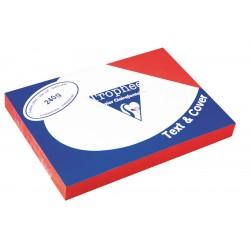 Karton bőrhatású Clairefontaine Text and Cover A/4 240g vörös 100 ív/csomag
