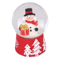 Karácsonyi hógömb 7 cm piros hóember ( polirezin )