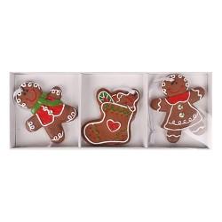 Karácsonyi polirezin akasztós mézeskalács figurák 12,5 cm 3 db/doboz