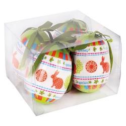 Húsvéti tojásdekoráció narancs/zöld 7,5 cm 4 db/doboz