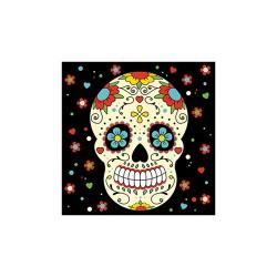 Szalvéta 33x33 cm 3 rétegű fekete koponya 20 db/csomag